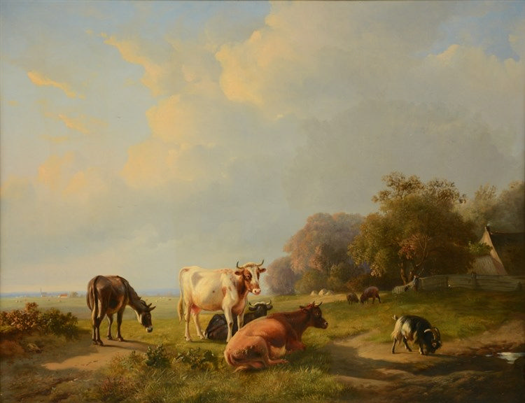 L. P. Verwée / Eugène Verboeckhoven, cattle, a goat and a donkey in a lands