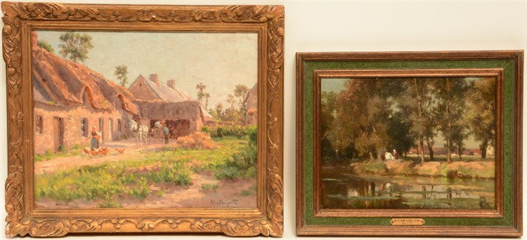 Monogrammed E.D.S. (De Schampheleer E.), rural view with a cowherd, oil on