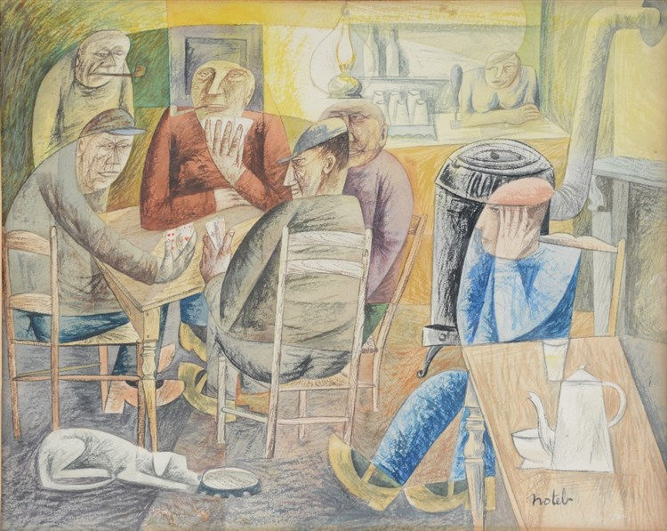 Notebaert M., card players in a cafe, watercolor, 26,5 x 33 cm