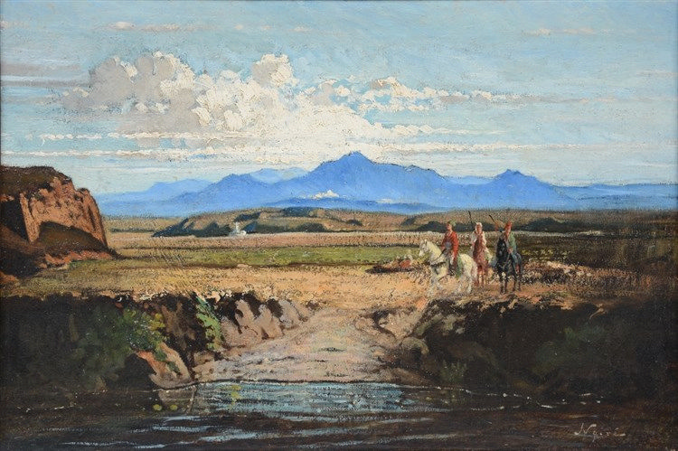 Noiré M., riders in a Caucasian landscape, oil on canvas, 27,5 x 40 cm