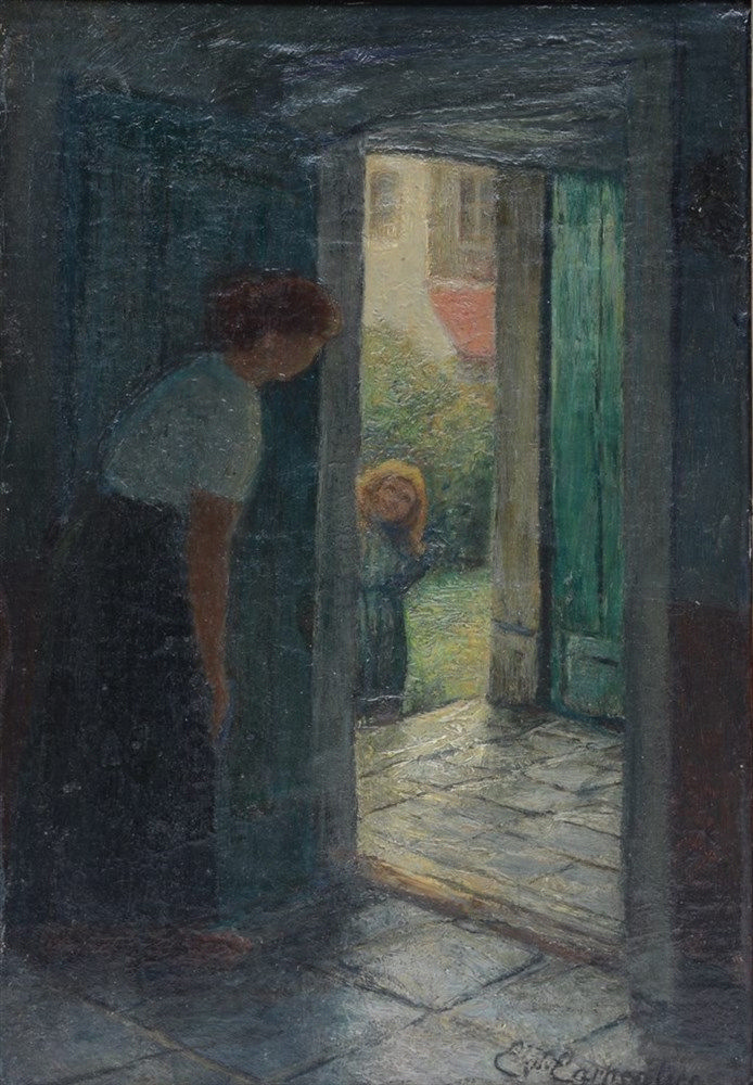 Carpentier E., 'Le retour de l'enfant' (1905), oil on canvas on board, 23 x