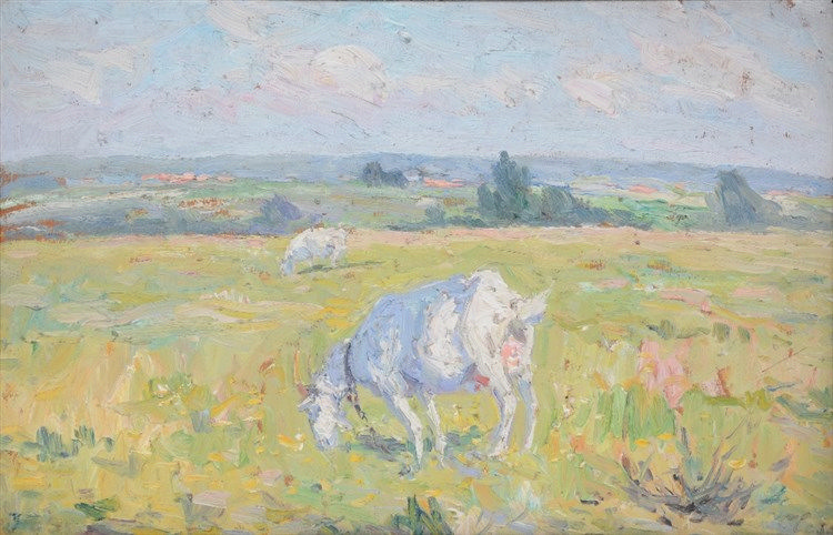 Clesse L., grazing goats in a landscape, oil on panel, certified on the bac