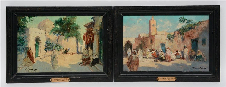 Flasschoen G., 'Rue à Rabat' / view of a North African city, oil on panel,