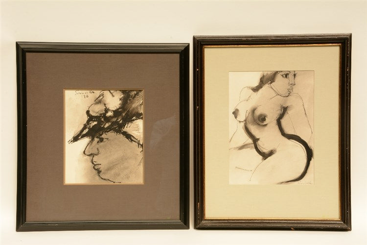 Somville R., a female nude an a womans portrait, Indian ink and grey wash d