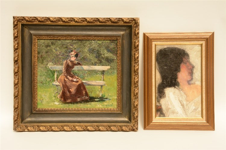 Unsigned, musing lady in a park, oil on panel, 32,5 x 39 cm: addedAllard L