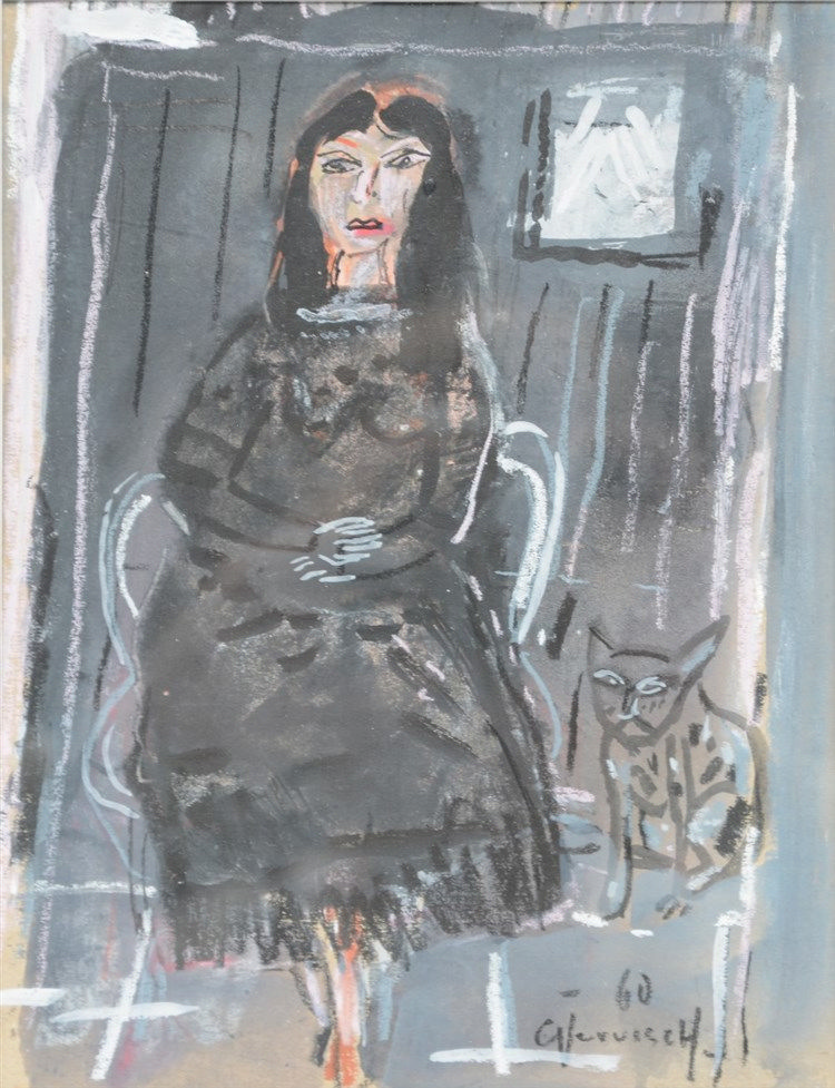 Vervisch G., lady with cat, watercolor and gouache, dated 1960, 16,5 x 21,5