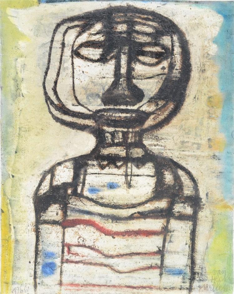 Van Hecke W., 'De Beloerster', mixed media, dated 1966, 36,5 x 42,5 cm