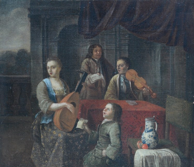 Unsigned, the musical family, oil on canvas, first half of 18thC, 35,5 x 41