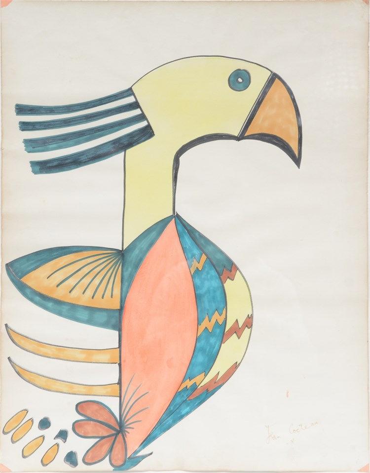 (Cocteau J.), parrot, watercolor, 50 x 64 cm