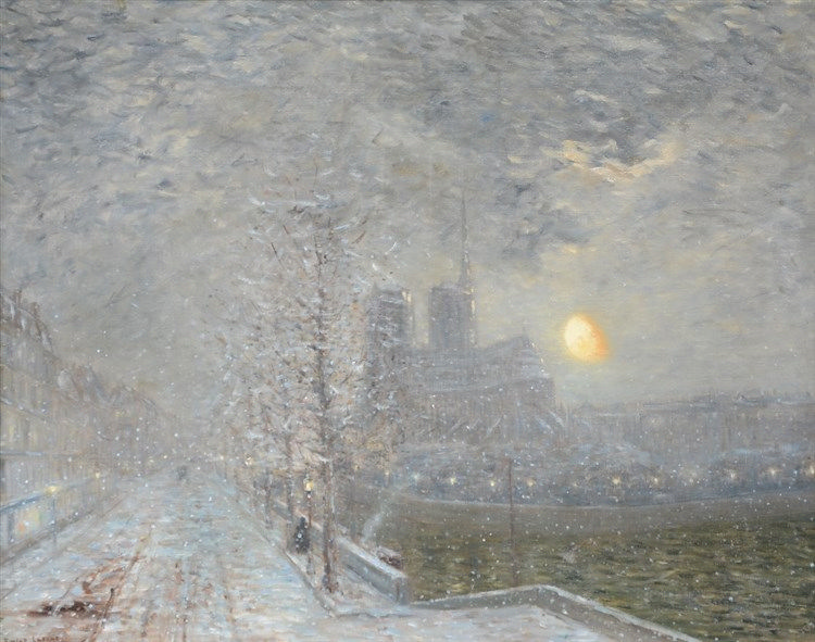 Lafont E.R., the cathedral of Notre Dame in Paris on a winter night, oil on