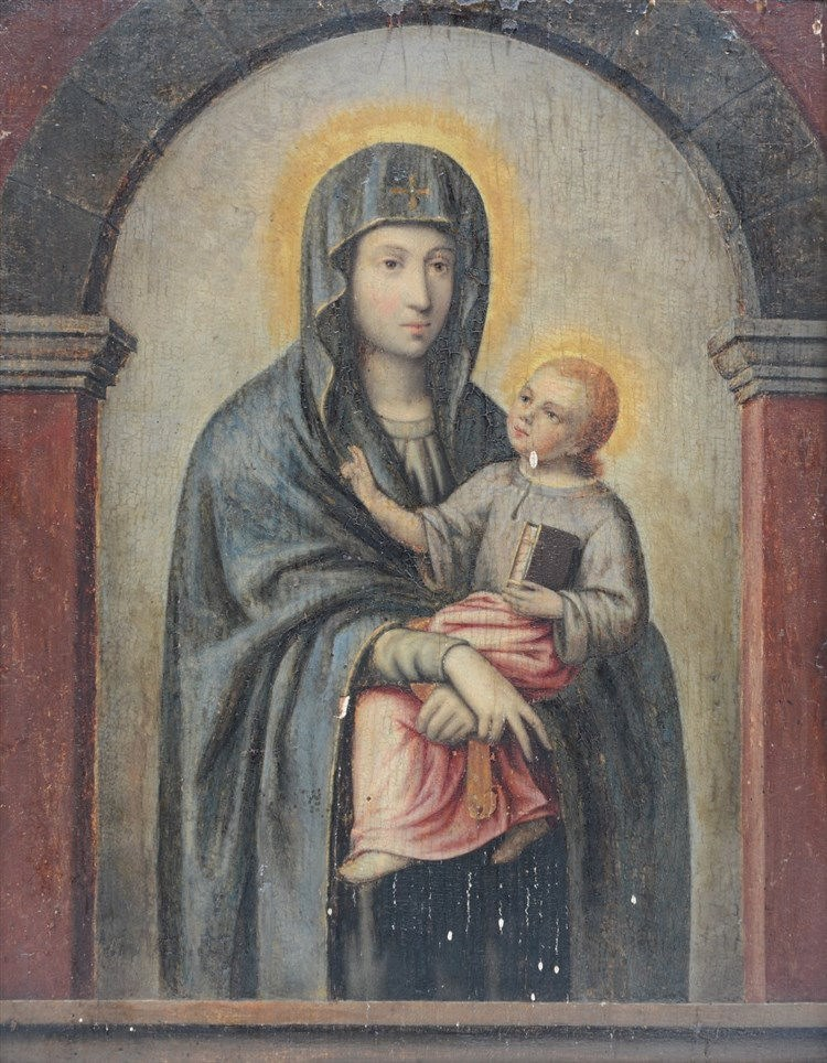 Unsigned, Madonna with Child, oil on panel, 17thC, 30 x 37,5 cm