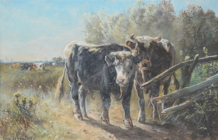 Schouten H., cattle in a landscape, pastel, 28 x 43 cm