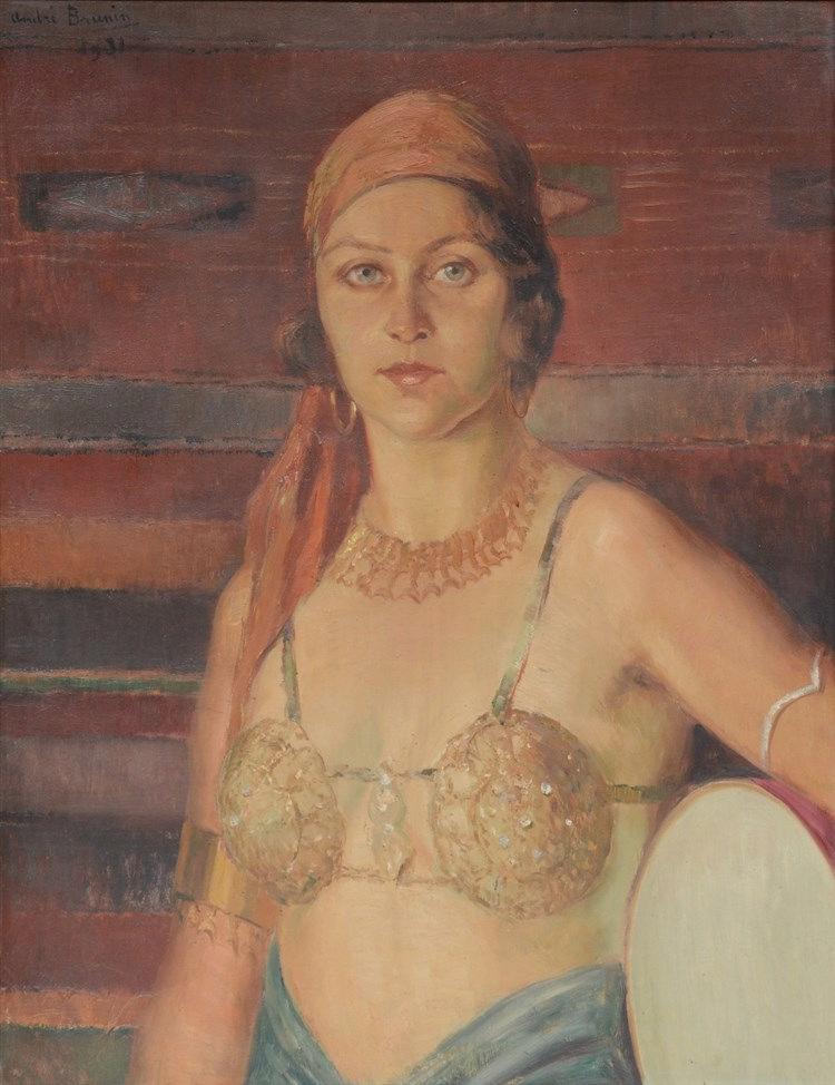 Brunin A., portrait of a young lady in exotic outfit, oil on canvas, dated