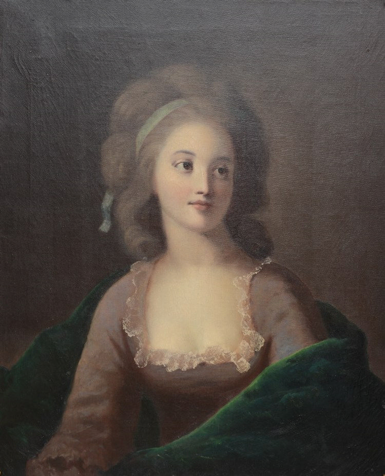 No signature, the portrait of a late 18thC lady, oil on canvas, 63 x 76,5 c