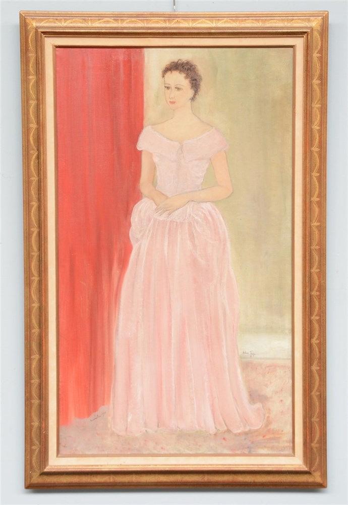 Frey A., portrait of a lady, oil on canvas, 70 x 120 cm