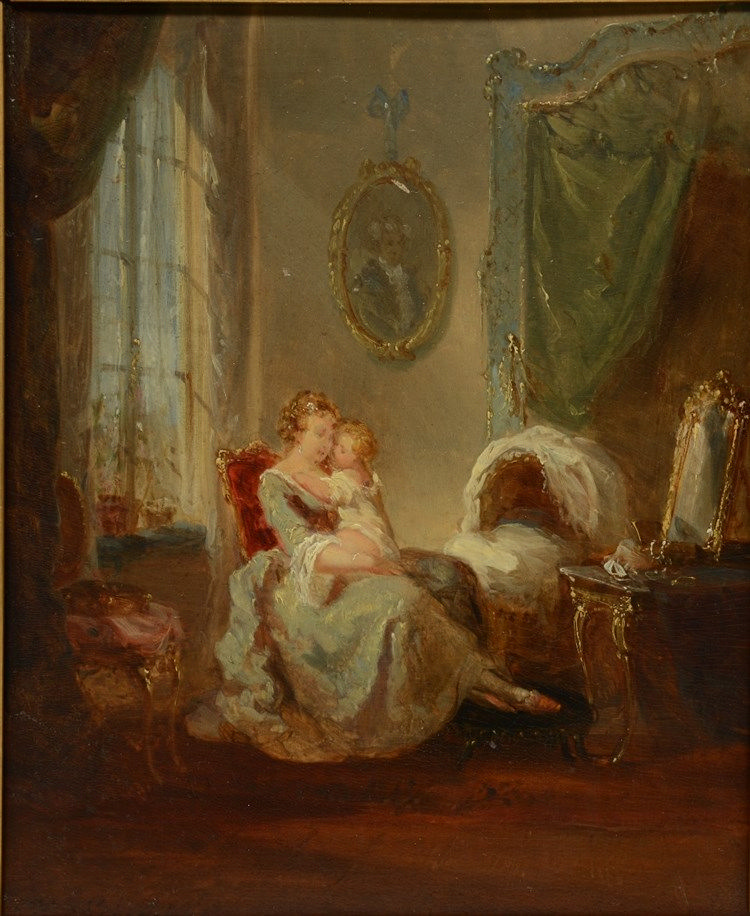 Schaeffels H., mother and child in a Rococo style interior, oil on panel, 2