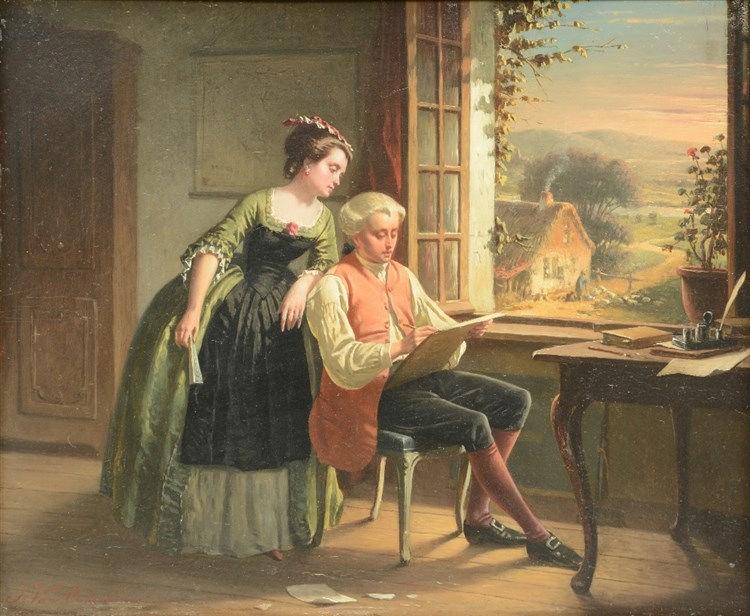 Van Oudenhoven J., the artist at work, oil on panel, 32 x 39 cm