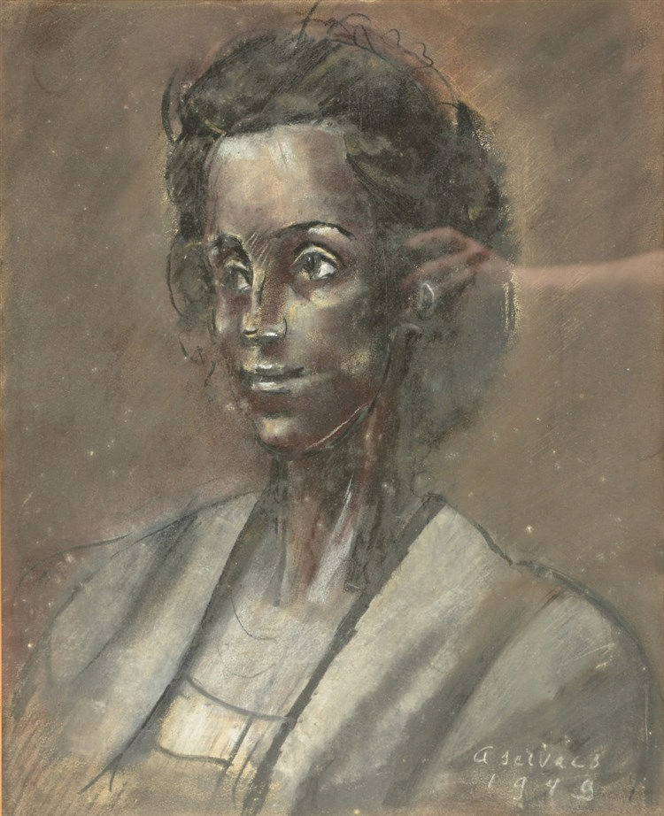 Servaes A., a womans portrait, charcoal + white and red crayon, dated 1949,