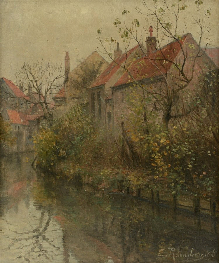 Rommelaere E., a view of a Bruges canal, oil on canvas, dated 1898, 38 x 46