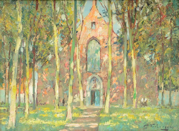 Verbrugghe Ch., 'Le Beguinage ensoleilé - Bruges, oil on hardboard, 30,5 x