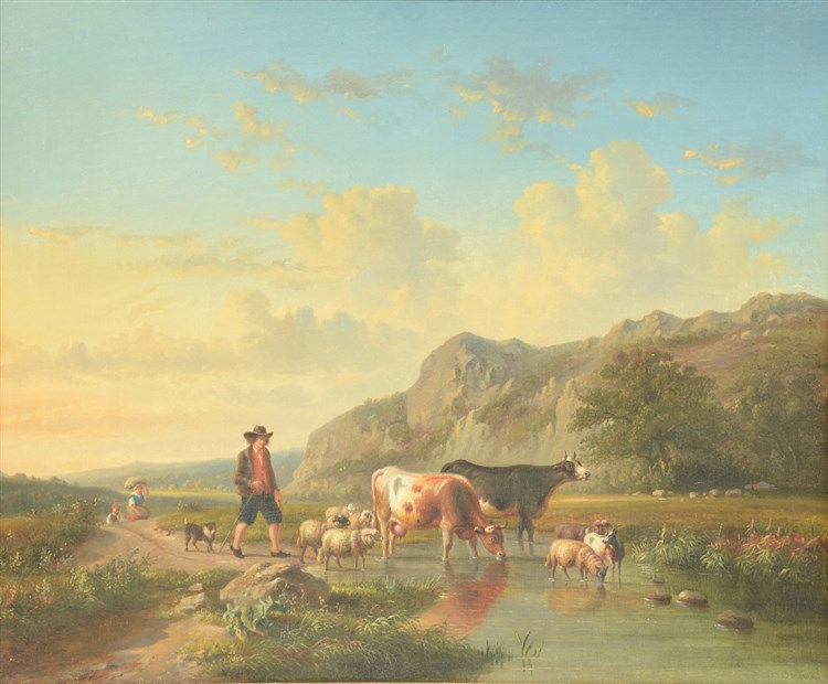 Verboeckhoven E., a shepherd with his cattle near a wed, oil on canvas, 51