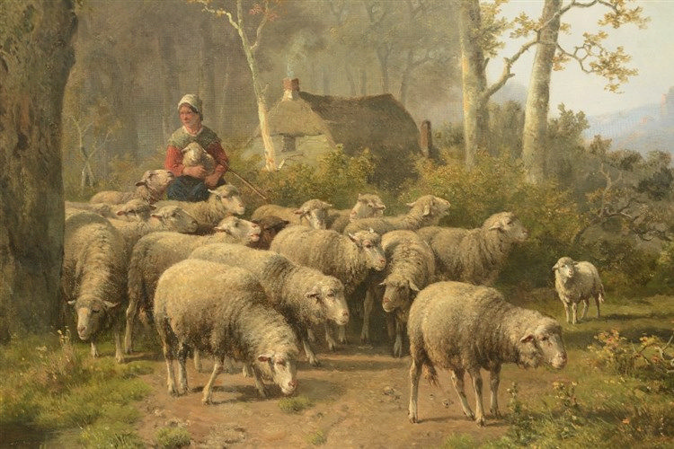 Unsigned (attr. to Koekkoek H.P.), a sheperd and his cattle, oil on canvas,