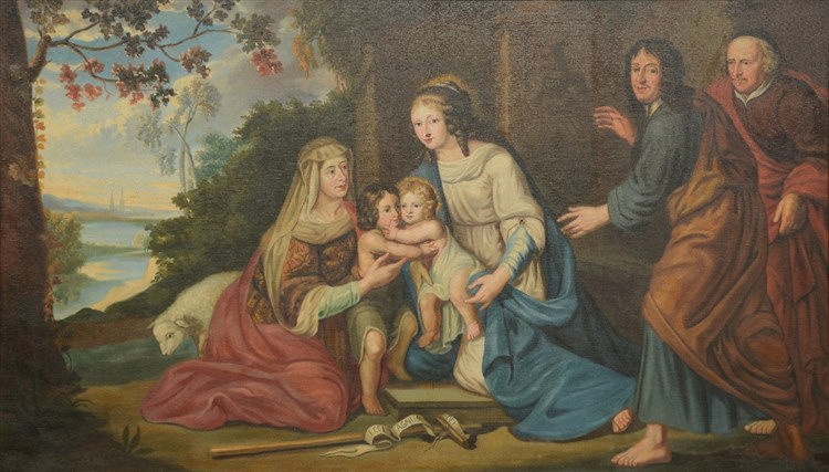 Unsigned, 'Ecce Agnus Dei' a family portrayed as The Holy Family and The Yo
