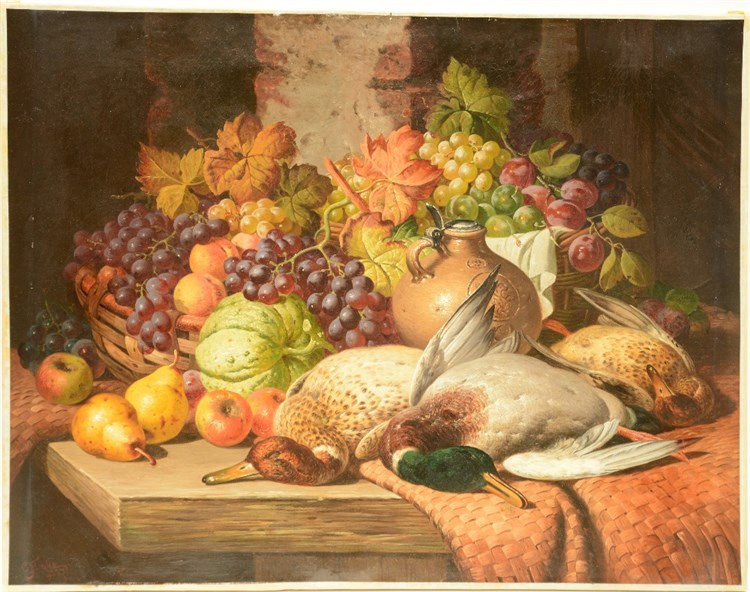 Bale Th., a still life with fruits and birds, oil on canvas, dated 1887, 71