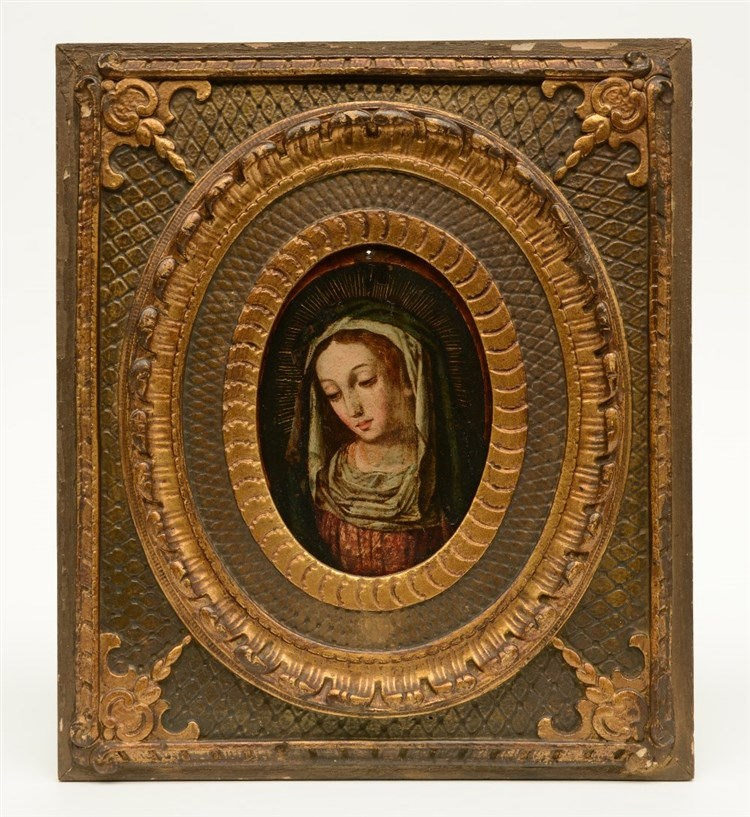 Unsigned, a Madonna, oil on red copper, 18thC, 12,5 x 17,5 cm