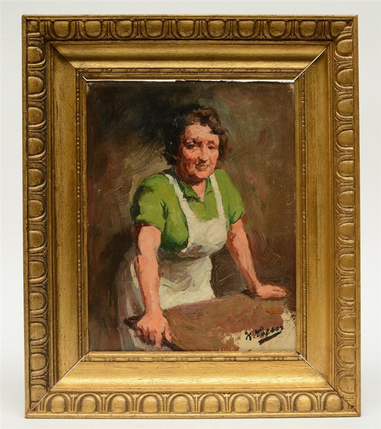 Peiser K., the burly housewife, oil on canvas glued to hardboard, 26 x 33 c