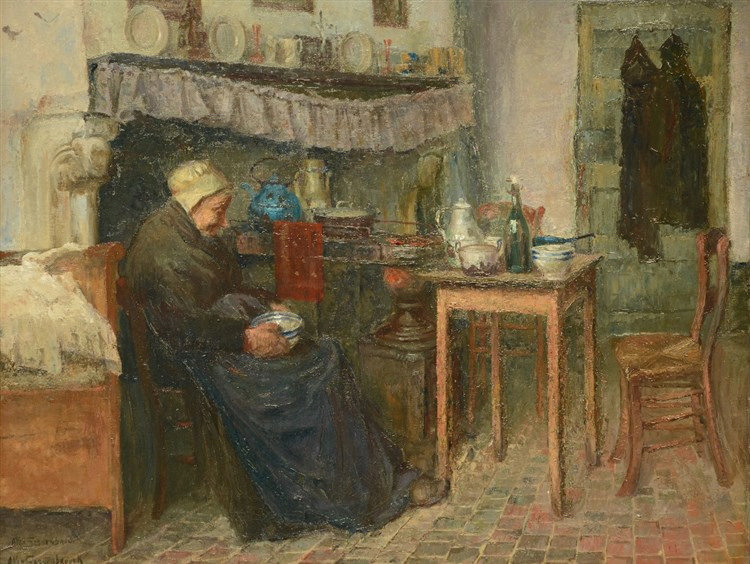 Van Sassenbrouck A., an old woman in an almshouse interior, oil on canvas,