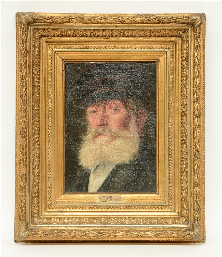 Unsigned (attrib. to A. Verhaeren), the portrait of an older man, oil on ca
