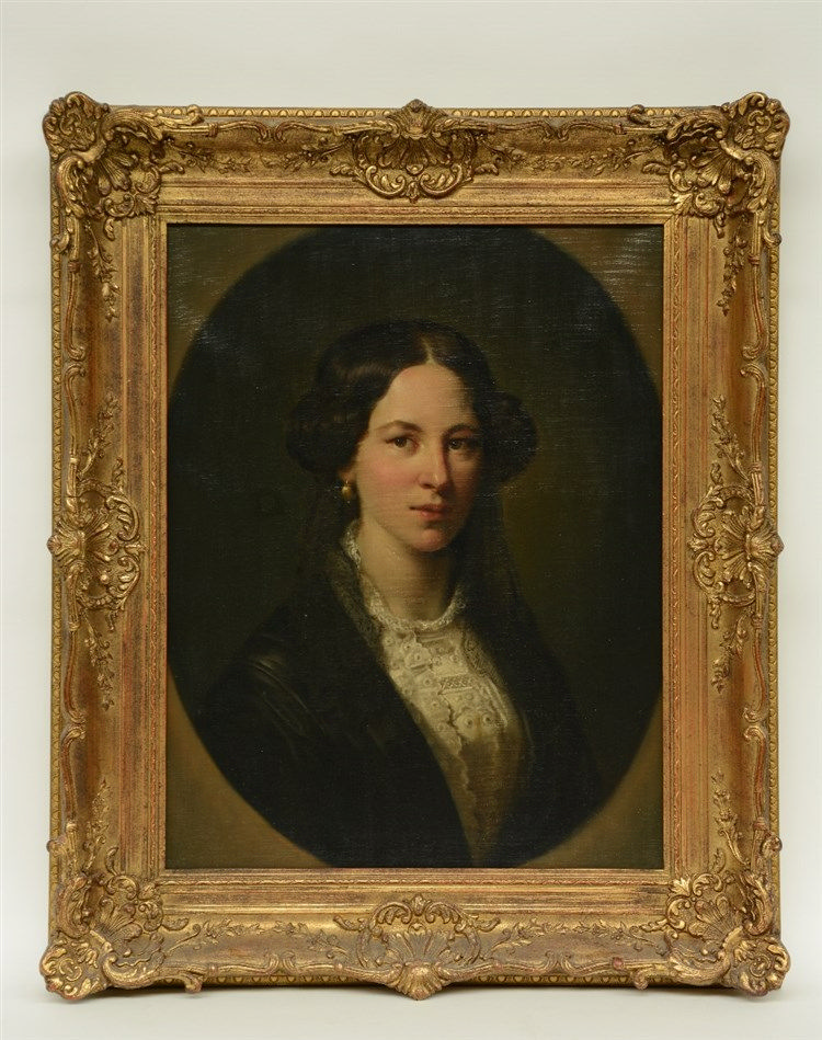 Unsigned, portrait of a lady, 19thC, 50,5 x 65 cm (restoration)