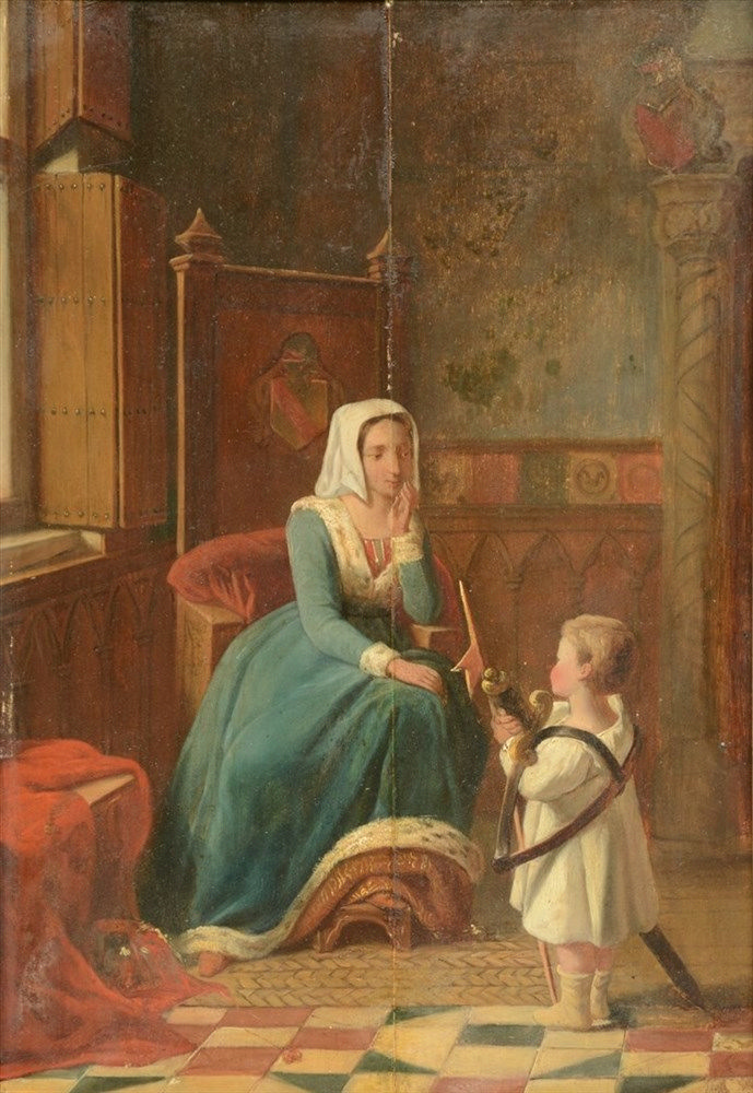 Illegibly signed, animated scene, oil on panel, dated 1865, 33,5 x 48 cm