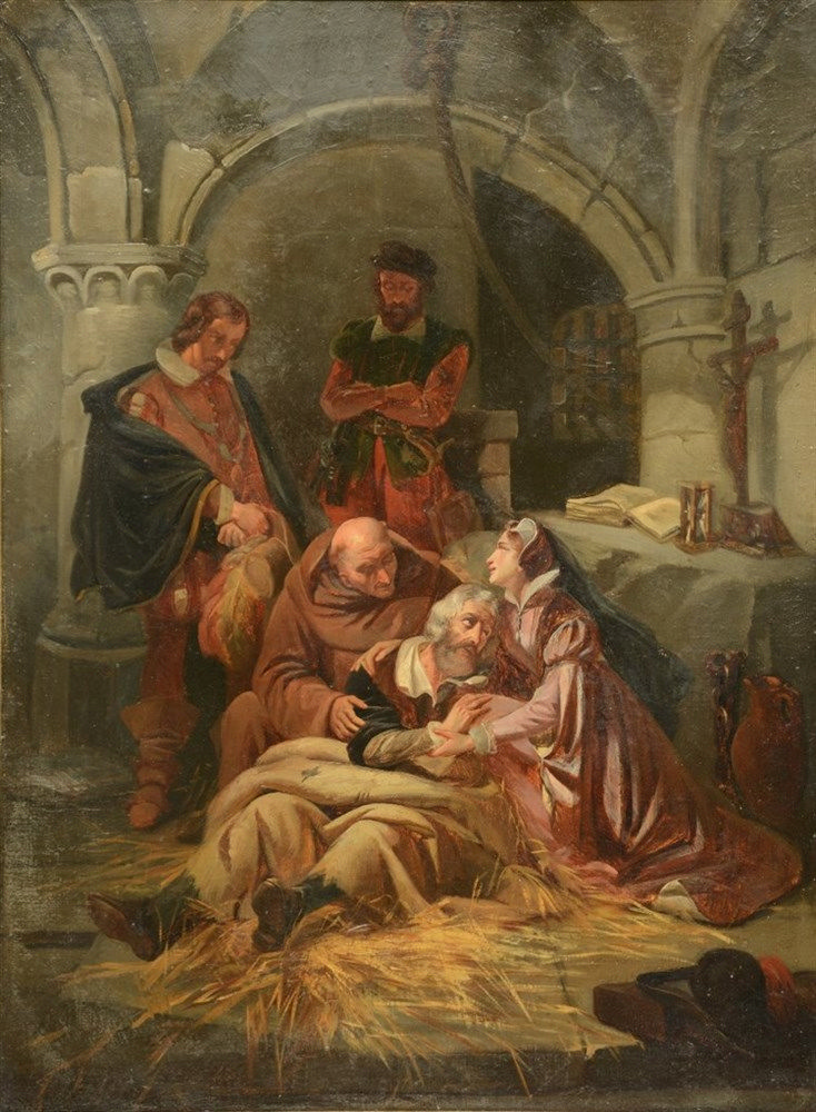 Unsigned, historical animated scene, oil on canvas, 19thC, 49 x 66 cm