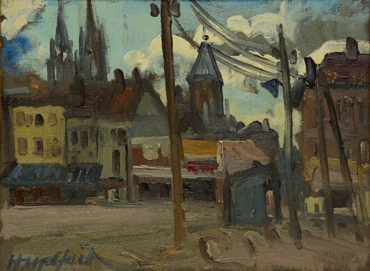 Malfait H., a town view of Ostend, olie op doek, 38 x 50,5 cm