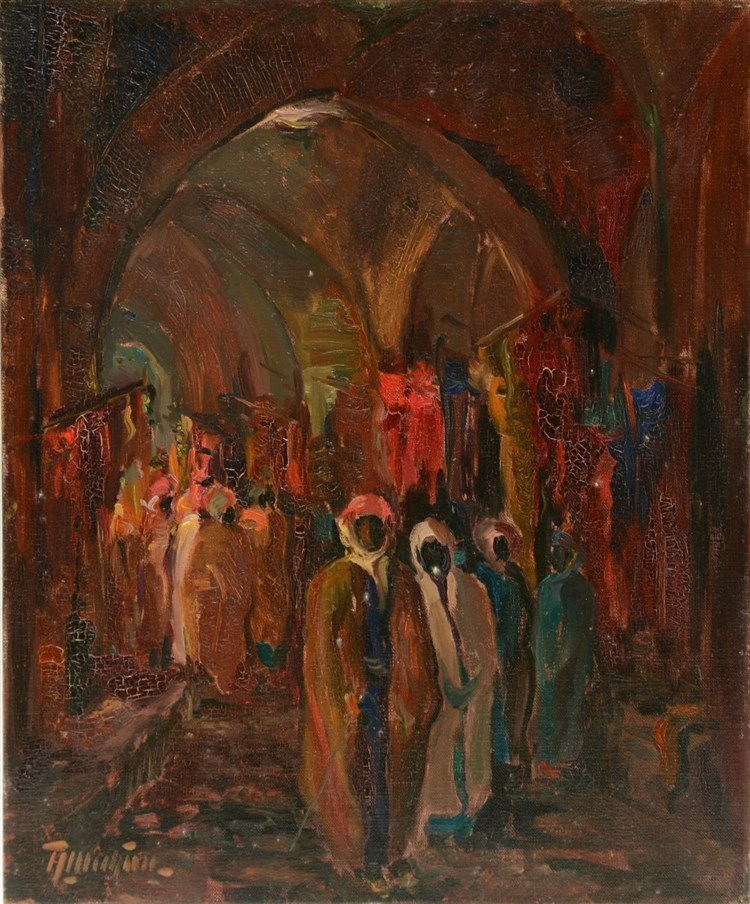 Indistinctly signed, an Oriental market scene, oil on canvas on cardboard,