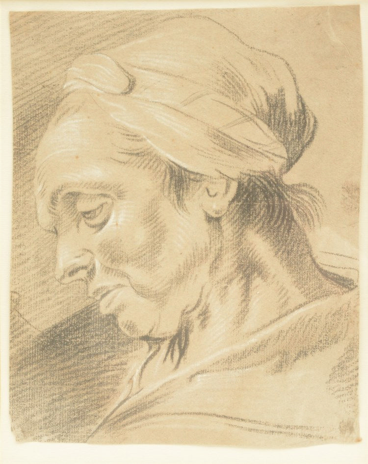 Unsigned, sketch of a woman's head, black and white crayon, 18thC, 20 x 24,