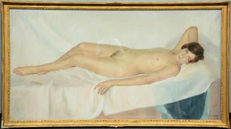 Bricoux M., female nude, pastel, dated 1914, 83,5 x 158,5 cm