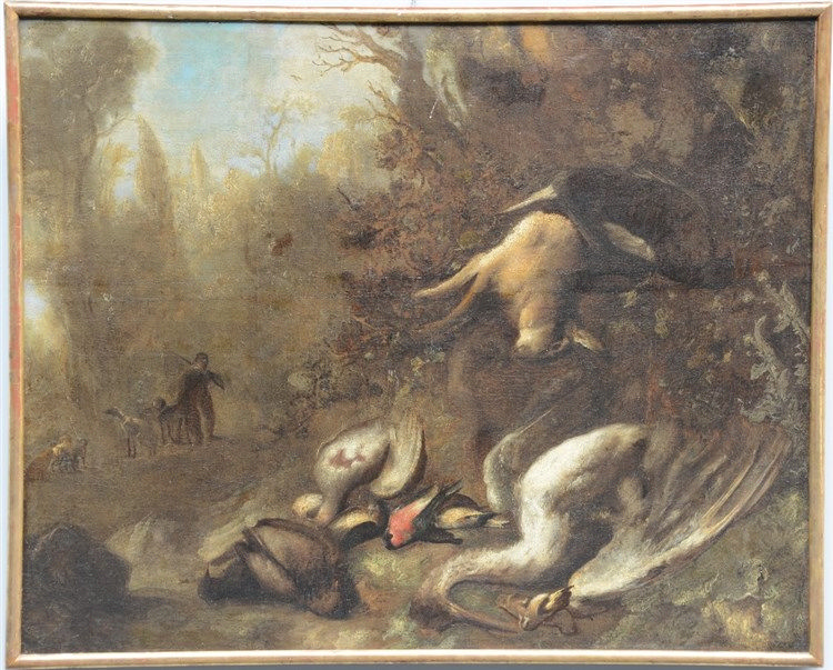 Unsigned, a hunting still life, oil on canvas, 17thC, 136,5 x 90 cm