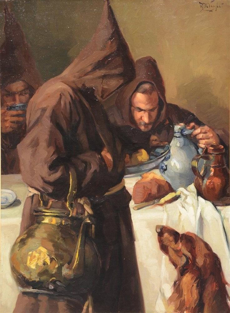 De Vooght R., inside the monastery, oil on canvas, 138,5 X 101cm