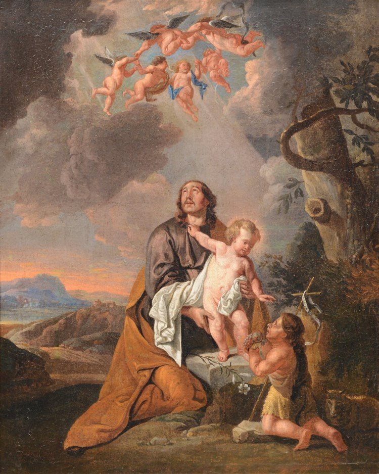 Unsigned, a religious scene, oil on canvas, 18thC, 70,5 x 75 cm