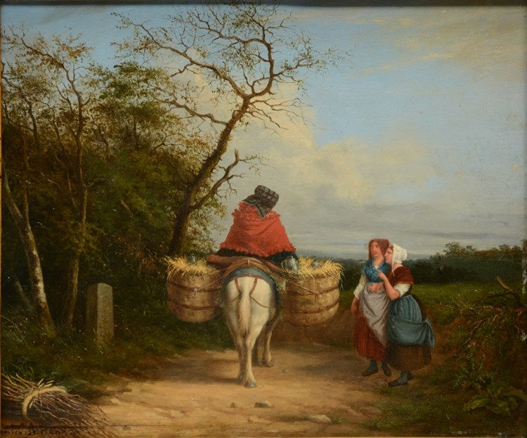 Breton J., the meeting with the milk woman, oil on canvas, 31 x 37cm