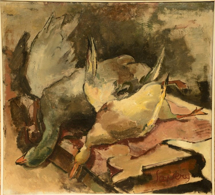 Saverys A., a hunting still life, oil on canvas, 110,5 x 120,5 cm