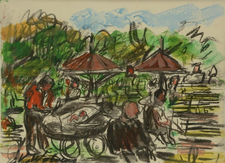 Wolvens H.V., a sunny afternoon in the park, charcoal & watercolour, 26,5 x