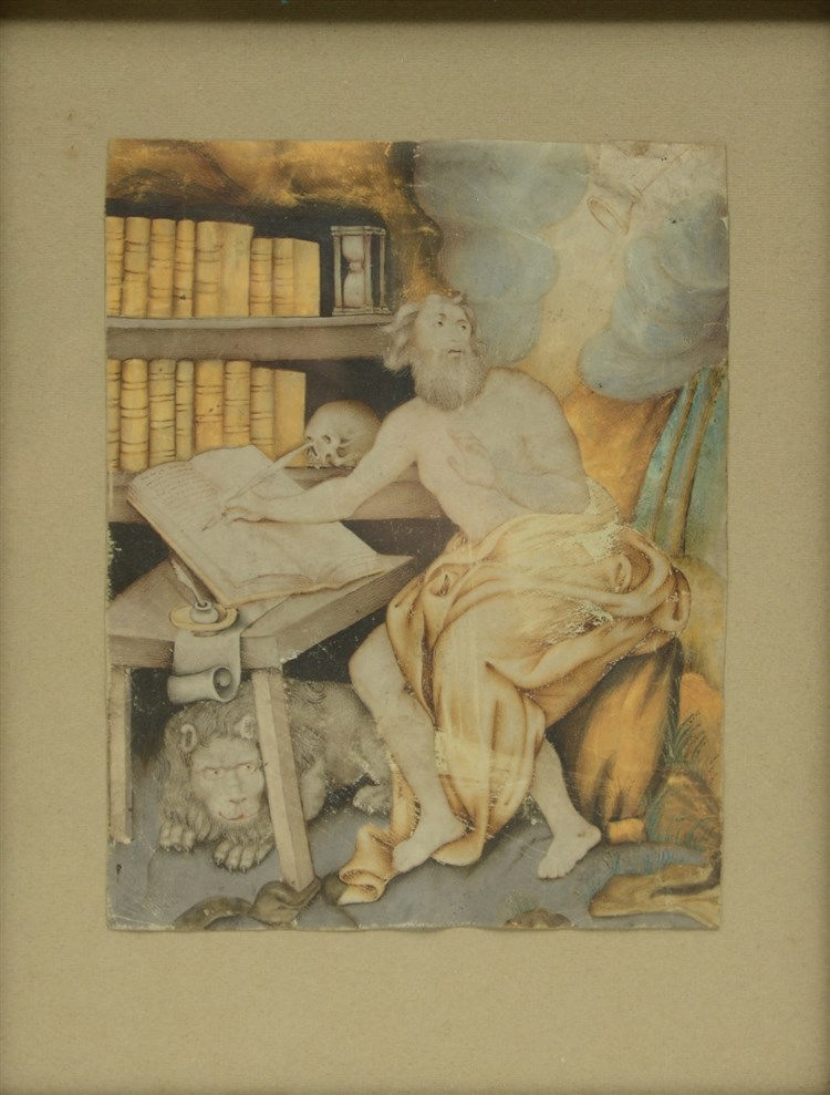 Unsigned, the Holy Hiëronymus, a bister and watercolour drawing, early 17th