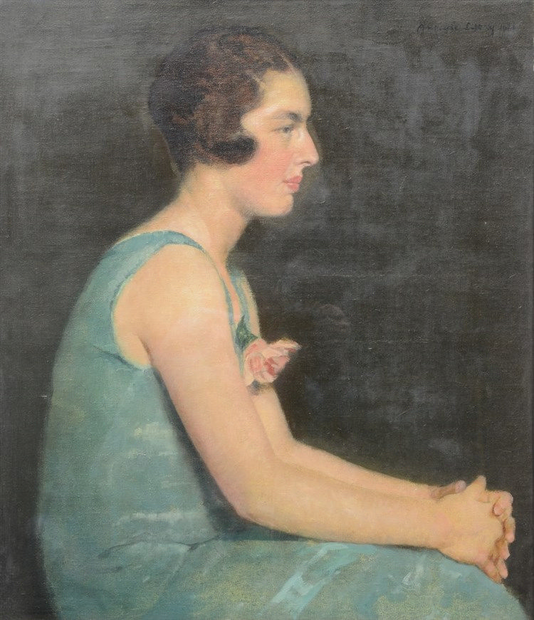 De Littry A., a ladies profile portrait, oil on canvas, dated 1926, 76,5 x