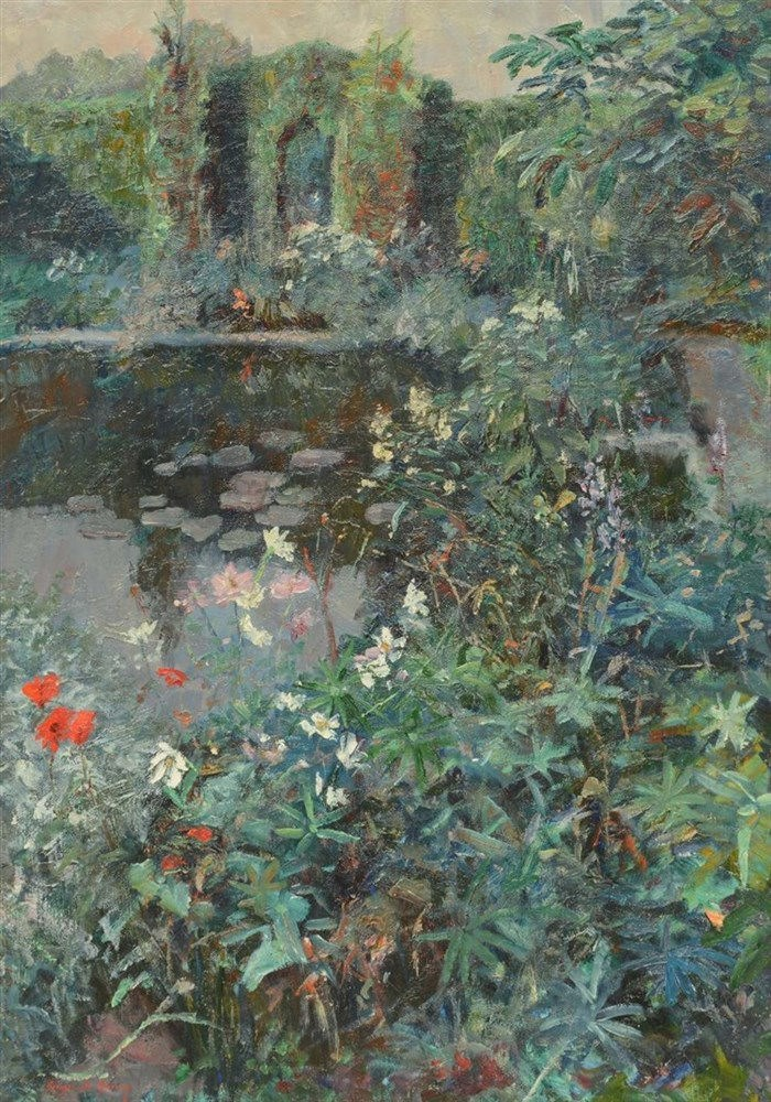 De Sloovere G., a garden in summer, oil on canvas, 65,5 x 92,5cm