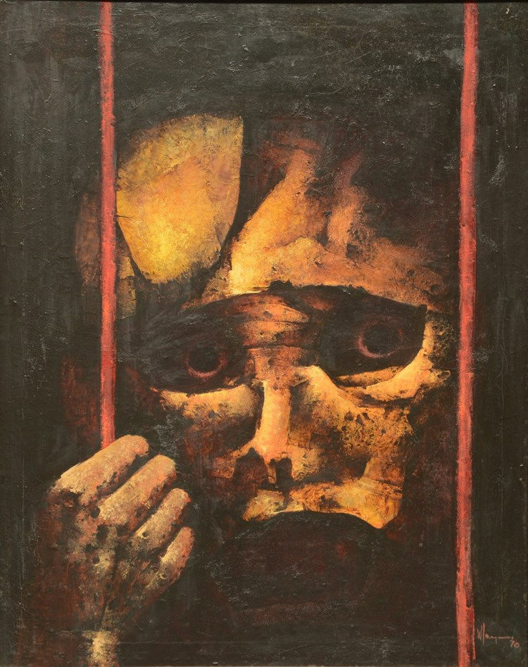 Ley ... W. - indistinctly signed, prisoner, oil on canvas, 80 x 100cm