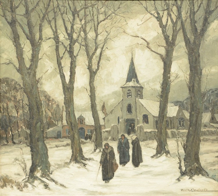 Van De Casteele, after the doom sermon, oil on canvas, 90,5 x 100,5cm